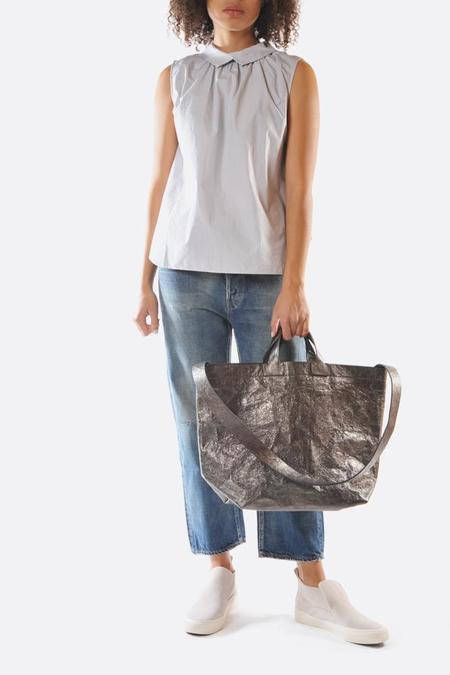 Zilla Cross Body Leather Shopper - Grey Metallic