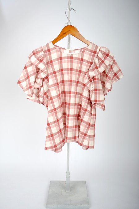 The Great. The Whisper Shirt - BRICK RED PLAID