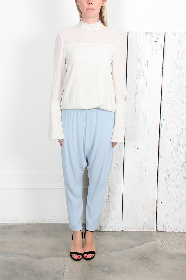 RAQUEL ALLEGRA  BLUE DROP RISE PANT