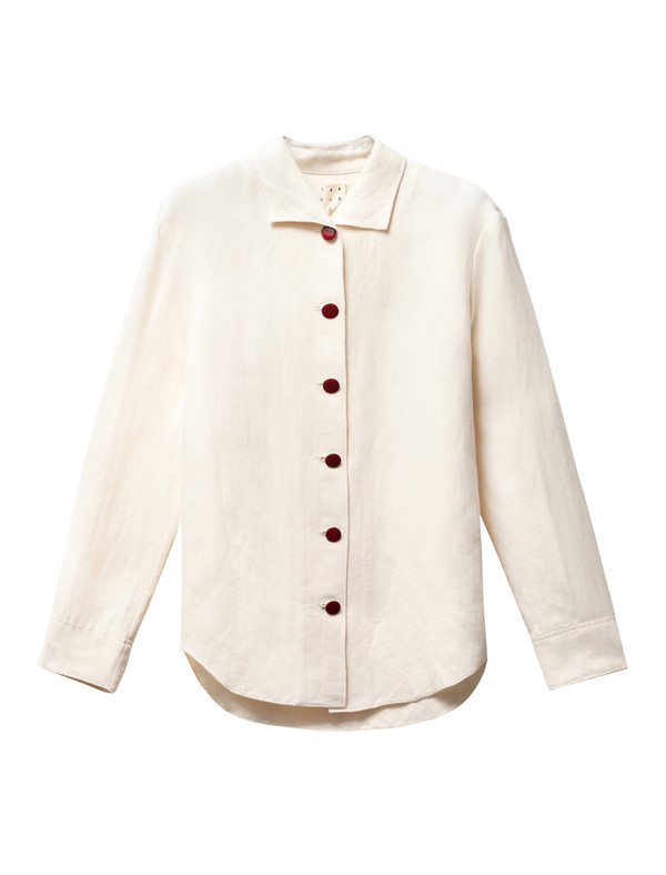 Trademark Womens Pajama Collar Shirt Cream