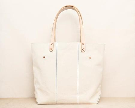 Stanley & Sons Blue Line Canvas Tote with Leather Pocket