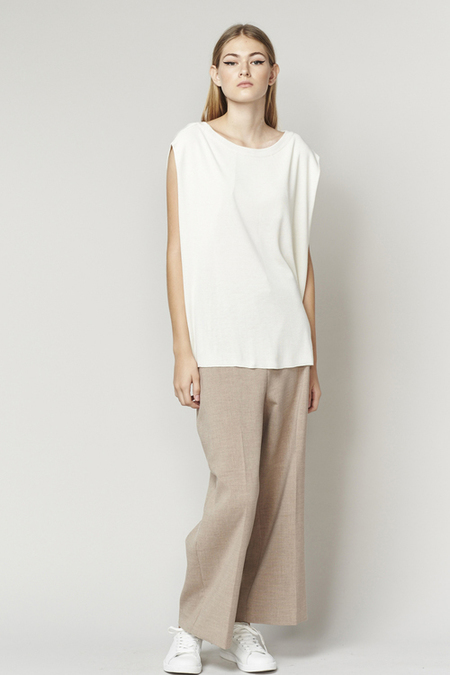 ACHRO LINEN MIXED KNIT TOP WITH FOLDED SIDES - IVORY