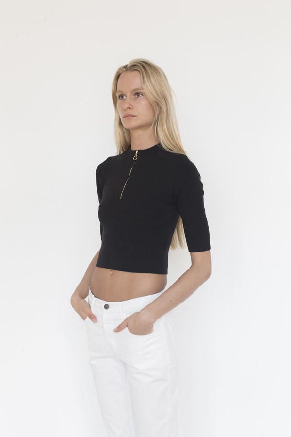 Pari Desai Cotton Blend Lucie Zip Crop Top
