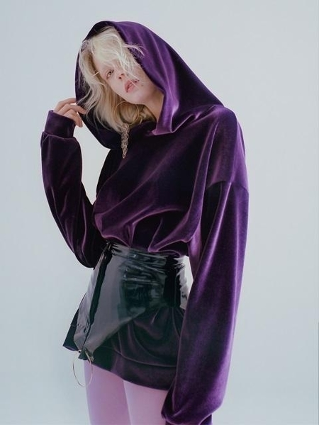 Unisex Badtaste Velvet Sweatsuit Top - Purple
