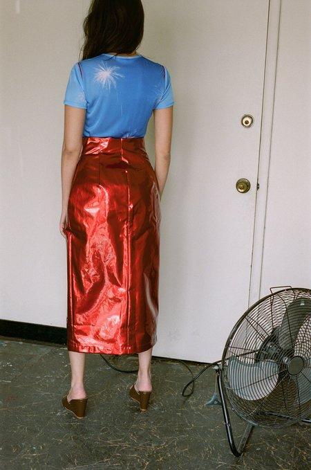 PRISCAVera Lace Wrap Skirt - Crimson