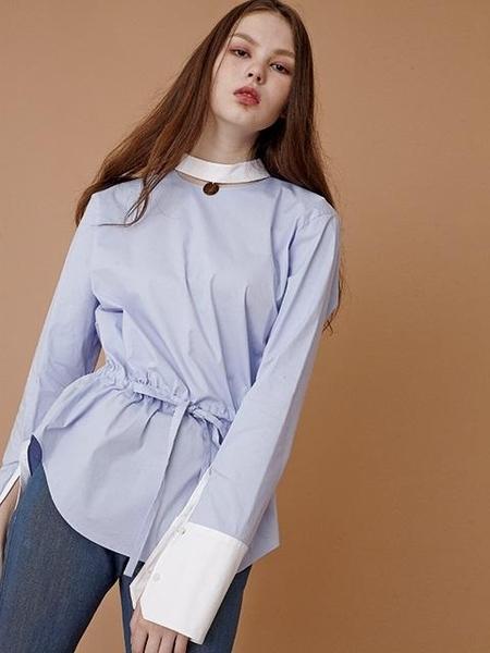MOONTAN Drawstring Shirt - Sky Blue