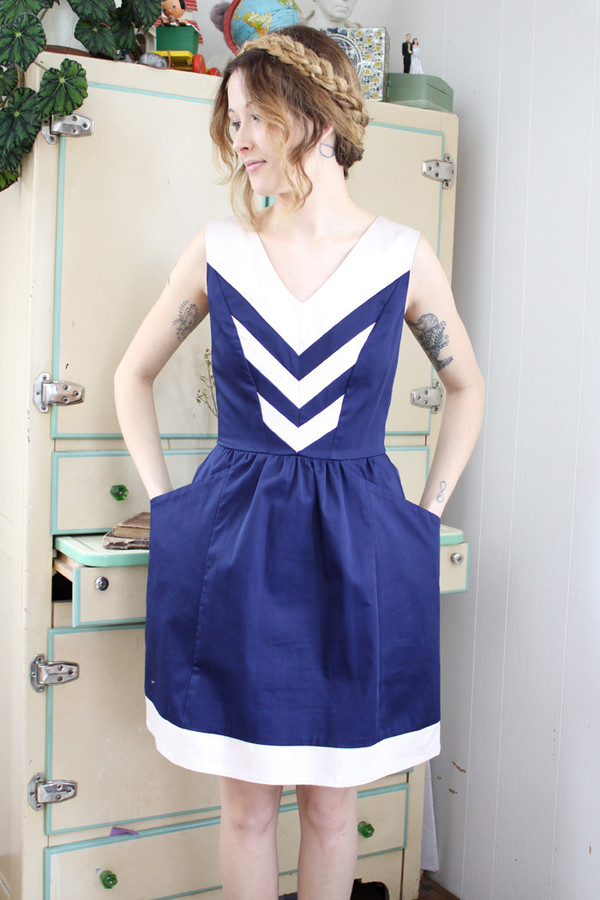 Birds of North America Parula Dress (Navy/Ivory)