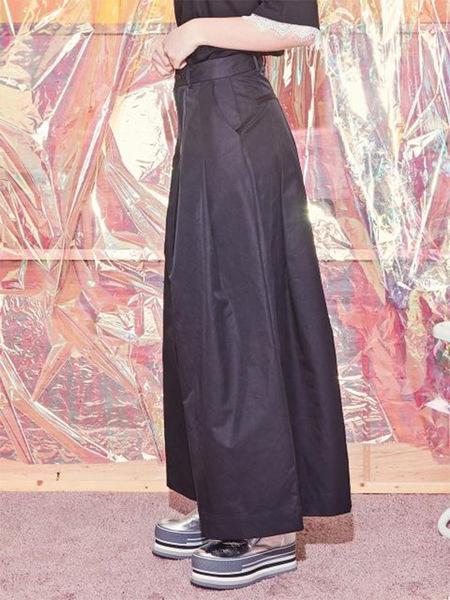 Blank Maxi Flared Pants - Black