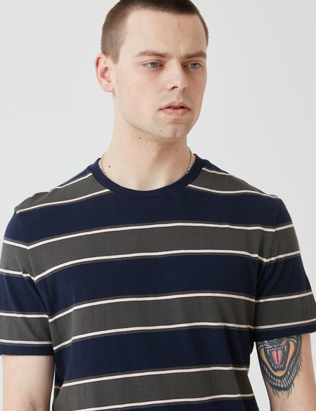 Bellerose Ino Stripe T-Shirt - Navy Blue/Green