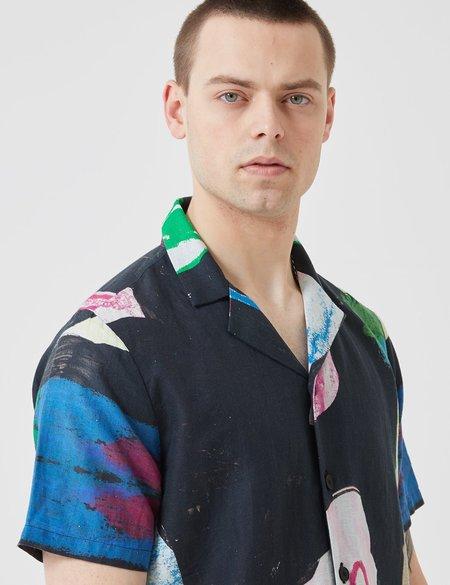 Folk Soft Collar Shirt - Alfie Print Black