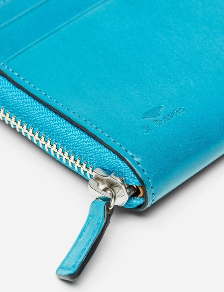 Il Bussetto Small Leather Zip Wallet - Ocean Blue