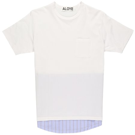 Aloye Fabric Layered T-Shirt - White/Blue Stripe