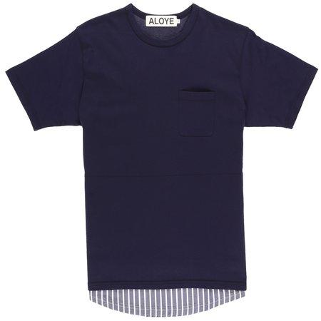 Aloye Fabric Layered T-Shirt - Navy/Navy Stripe
