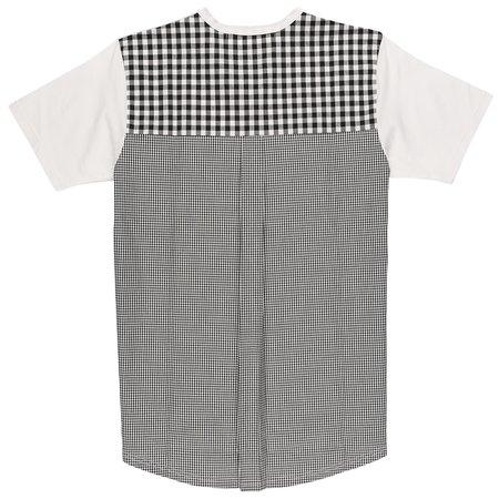 Aloye Multi Fabric Pleated T-Shirt - White/Black Gingham