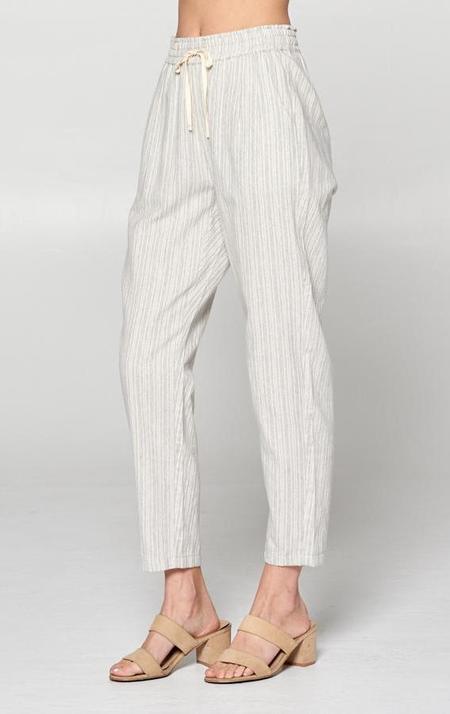 Ellison Dune Drawstring Pants - grey stipe