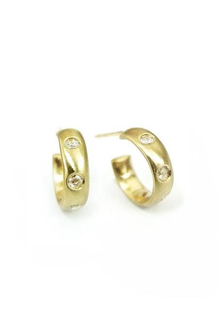 n + a Satin Finish Hoop Earrings - Rose Diamond
