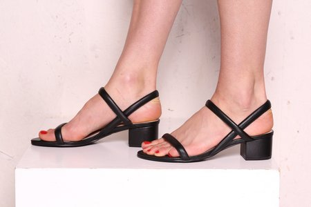 """INTENTIONALLY __________."" Kimi Leather Sandals - Black"