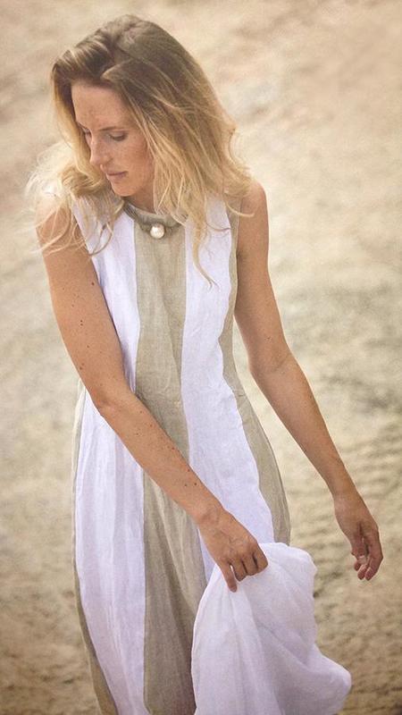 Hubert Gasser Wide Stripe Dress - White/Tan