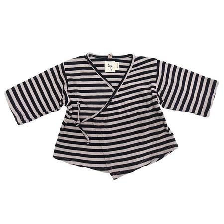 Kids Nico Nico Kea Striped Kimono Close Shirt - Sand Off-White