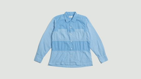 Universal Works Panel Jacquard Cotton Shirt - Sky Blue
