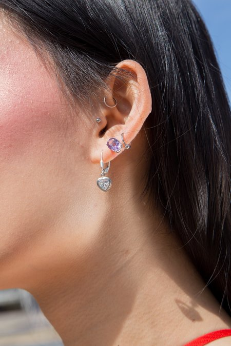 Olive Heart of Glass Earrings