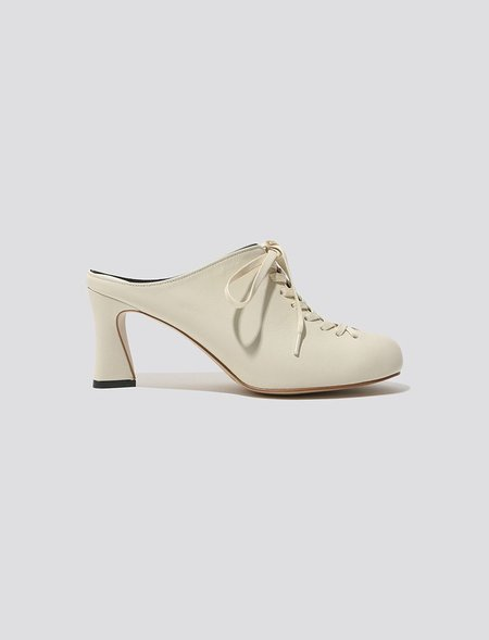 Flat Apartment Heeled Laced Mule - Cream