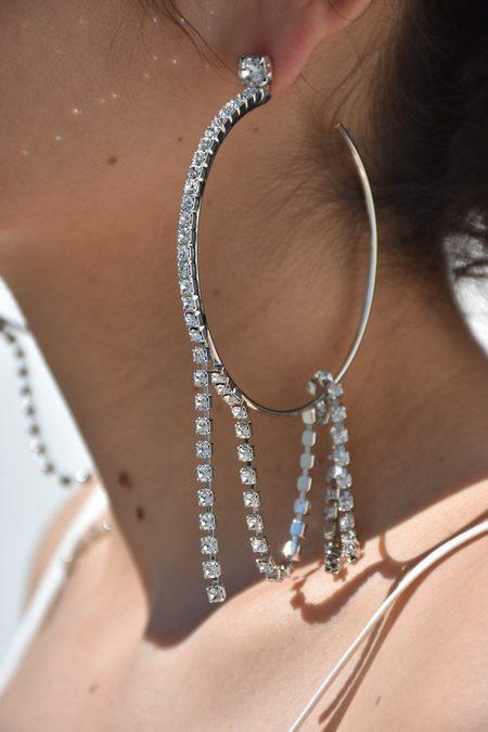 Joomi Lim Large Hoop Earrings with Crystal Fringes - Rhodium/Crystal