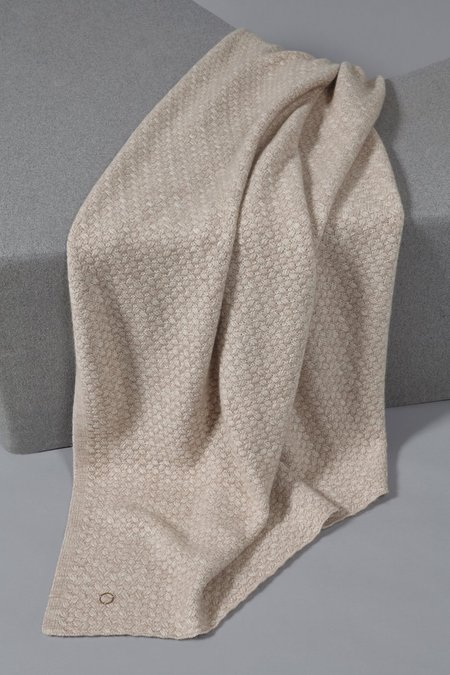 Oyuna Safira Chunky Two-Tone Knitted Cashmere Throw - Blush/Ivory