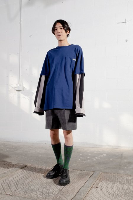 Lanvin Oversized Tee With Removable Stripe Shirt Sleeves - Indigo