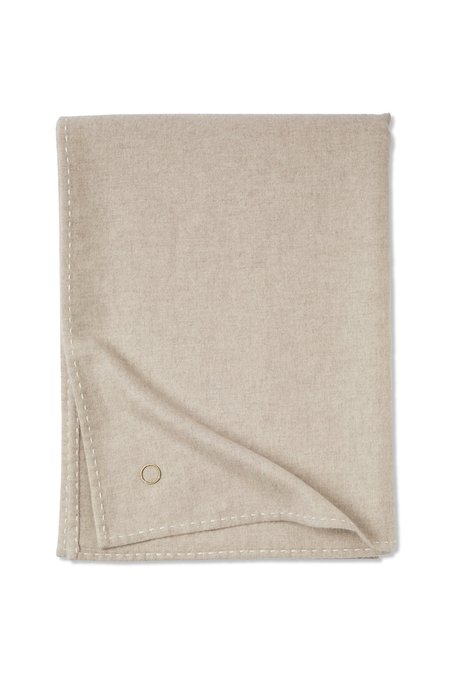 Oyuna Suo Hand-Stitched Woven Cashmere Throw - Beige/Ivory