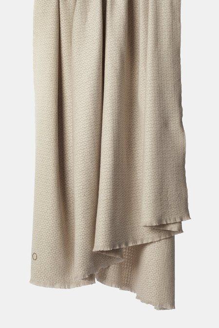 Oyuna Tasa Woven Basket Weave Design Cashmere Throw - Ivory/Beige
