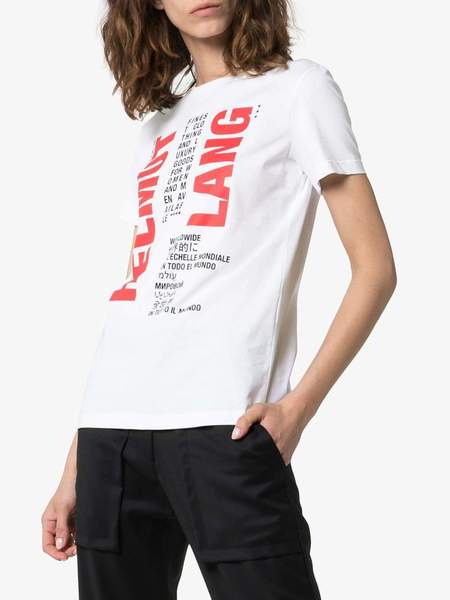 Helmut Lang Logo Print Cotton T-shirt - Chalk White