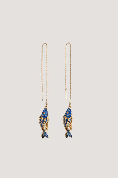NST STUDIO Fish Pair Earrings - 14k gold filled threaders