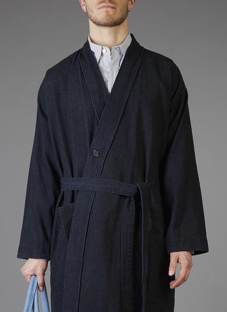 Unisex Grei Panel Denim Robe - Indigo