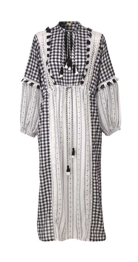 Dodo Bar Or Daria Kaftan - Black/White