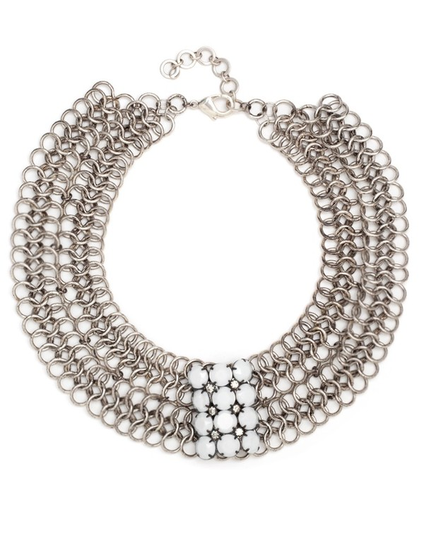 Paula Rosen Pearl And Rhinestone Collar Necklace