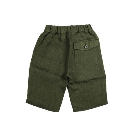 kids unisex Arch & Line Linen Short - Olive green