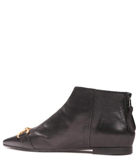 Mara Bini Leather Flat Ankle Boot - BLACK