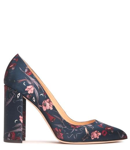Chloe Gosselin Satin Pointed Low Pump - Floral
