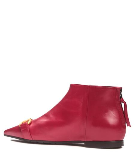 Mara Bini Leather Flat Ankle Boot - Mattone
