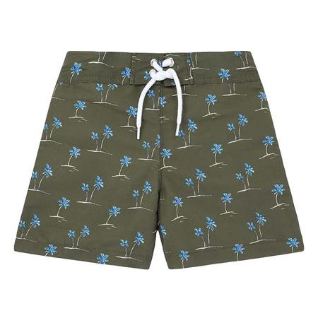 KIDS Bonton Triton Swim Shorts - Green With Palm Tree Print