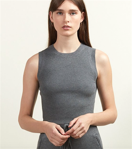 Comune Ribbed Crop Tank - Charcoal