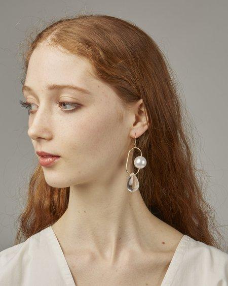 Faux/real Bitter Sweet Earrings - Pearl/Clear Glass