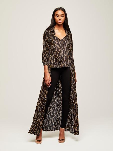L'Agence Cameron Long Shirt Dress - Black Multi Chain