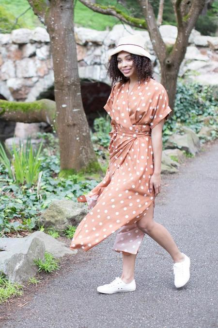 WHiT June Dress - Brown Polka Dotted