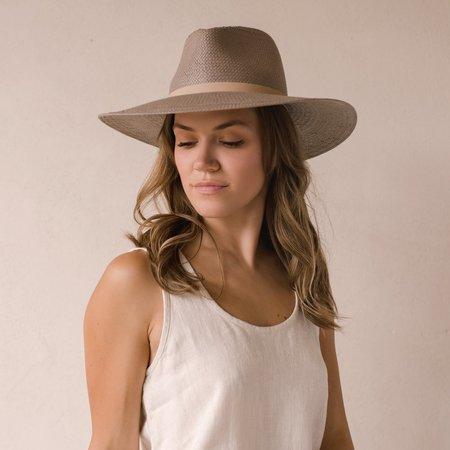 Janessa Leone Valentine Packable Straw Fedora - Grey