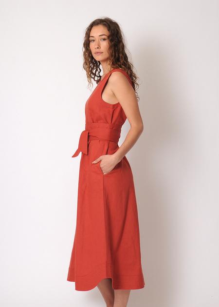 Rachel Antonoff St. Clair Midi Dress - brick