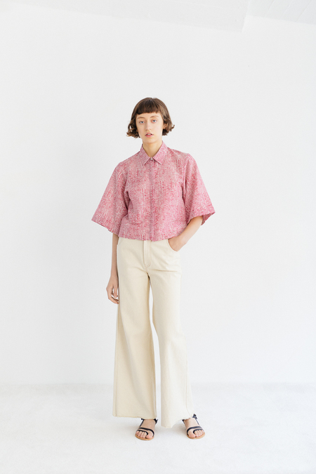 Samuji Talia Shirt in Tuuli - Ecru/Red
