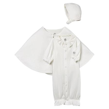 KIDS Petit Bateau Three PIece Set Convertable Pyjamas And Sleepsac, Bonnet And Cape - White