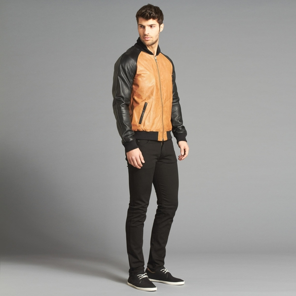 MEN'S LAMARQUE THE PLAYER Contrast Perforated Leather Baseball Jacket
